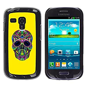 Be-Star Único Patrón Plástico Duro Fundas Cover Cubre Hard Case Cover Para Samsung Galaxy S3 III MINI (NOT FOR S3!!!) / I8190 / I8190N ( Hippie Lsd Weed Yellow Skull Deep )