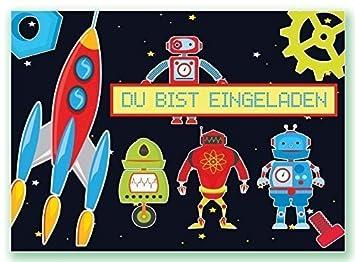 Einladungskarten Roboter Kindergeburtstag Roboterparty Geburtstag ...
