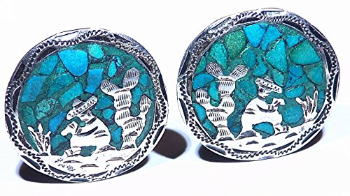 7.64g Southwest Turquoise Inlay Carved Vintage Handmade Sterling Silver Clip On Earrings Healing Antique Signed Artwork