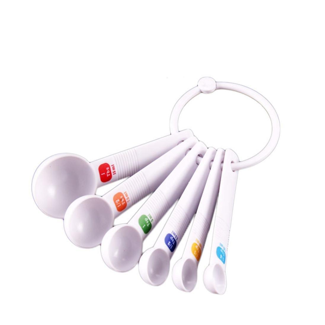 Measuring Spoon Tea Scoop Teaspoon Baking Cooking Kitchen Tool 6PC White Zolimx