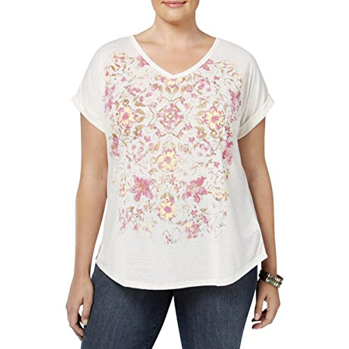 Style & Co. Womens Plus Floral Print Cap Sleeves T-Shirt Ivory 2X