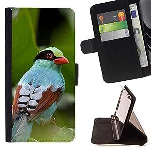 - Queen Pattern FOR Samsung Galaxy S5 V SM-G900 /La identificaci????n del cr????dito ranuras para tarjetas tir????n de la caja Cartera de cuero cubie - leaves summer tropical bird