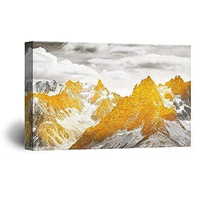 Abstract Golden Mountain Range Landscape 32