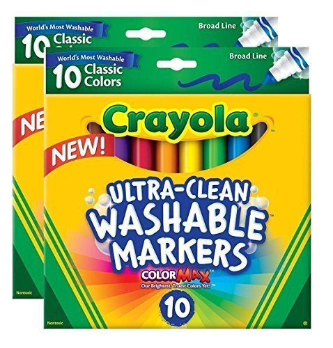Crayola Ultraclean Broadline Classic Washable Markers (10 Count), (Pack of ()