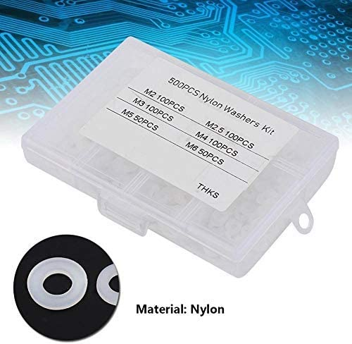white 500Pcs Nylon washers M2 M2.5 M3 M4 M5 M6 Flat washers Set of round dividers Set of assortment of flat gaskets for domestic automotive and store use