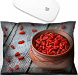 typing cl - Luxlady Mouse Wrist Rest Office Decor Wrist Supporter PillowIMAGE: 33876343 goji berries in a clay bowl on a wooden background