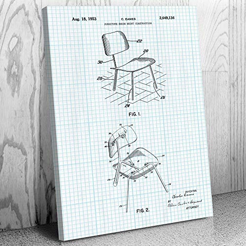 - Eames Chair Shock Mount Canvas Print, Furniture Maker, Designer Gifts, Herman Miller, Retro Chair, Furniture Shop Graph Paper (16