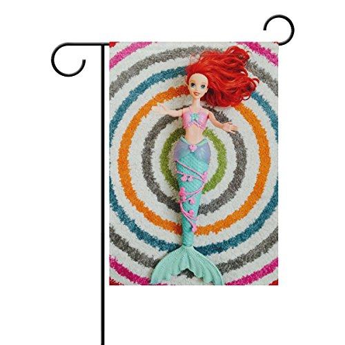 """LEISISI Cute Mermaid Doll Garden flag 28""""X40"""" Two Sided Yard"""