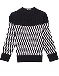MFrannie Boys Cable Knit Contrasted Zigzag Stitch Warm Crew Neck Sweater