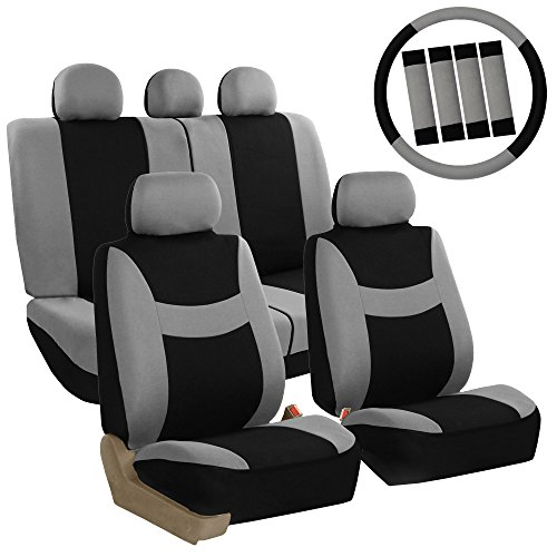 FH GROUP FH-FB030115 Combo Light & Breezy Cloth Full Set Car Seat Covers (Airbag & Split Ready), Gray / Black- Fit Most Car, Truck, Suv, or Van by FH Group