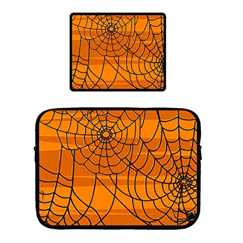 Vertical Style Laptop Sleeve Compatible for 13 15 Inch Laptop/Tablet/Ipad, Water Repellent Halloween Spider Web Tablet Office Pouch Case with Non-Slip Mouse Pad -