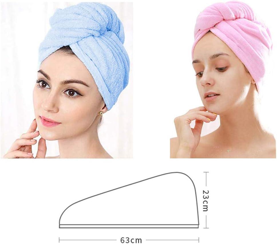 2pcs Twist Cheveux Turban Serviettes de Toilette Wrap de Cheveux Serre-t/ête de Douche Chapeau de Bain pour Bain Spa Maquillage Salle de Bain Absorbante JOJYO Serviette Microfibre S/èche Cheveux