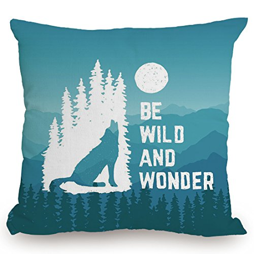 Throw Pillow Cushion Cover,Adventure,Hand Drawn Be Wild and Wonder Quote Howling Wolf in the Woods under Moon,Night Blue White,Decorative Square Accent Pillow Case by KissCase (Image #1)