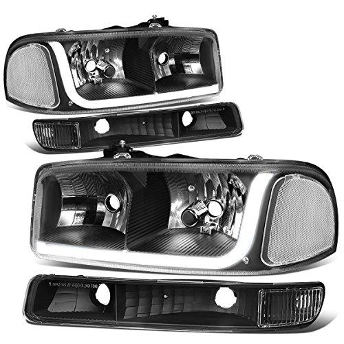 For 99-07 GMC Sierra / 00-06 Yukon LED DRL Black Housing Clear Corner Headlight w/Bumper Lights/Lamps - Pair