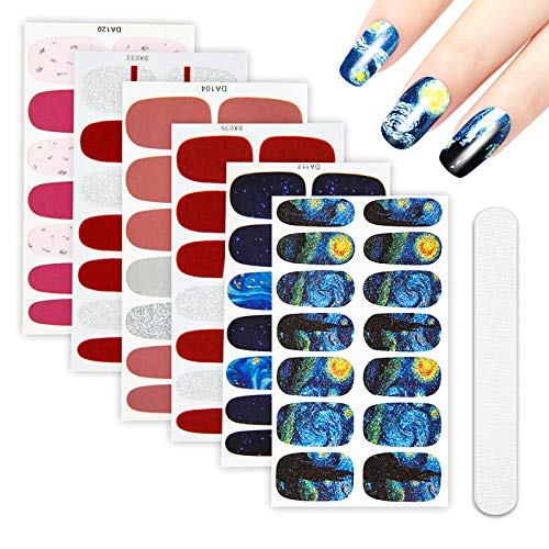6 Sheets Van Gogh's Starry Night Full Nail Wraps Art Polish Stickers Decal Strips Adhesive False Nail Design Manicure Set With 1Pc Nail Buffers Files For Women ()