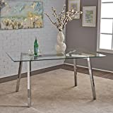 Great Deal Furniture 303715 Verna Tempered Glass Dining Table, Clear/Chrome
