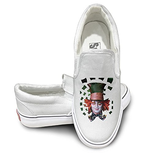 ALIPAPA Custom Men's & Women's Cute Mad Hatter Tea Nude Shoes White Size 37