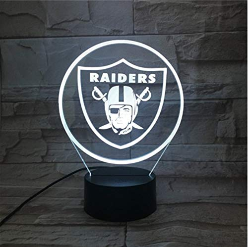 KLSOO Oakland Raiders Night Lamp Bedroom USB Touch Children Kids Gift Team Logo Led Night Light American Football