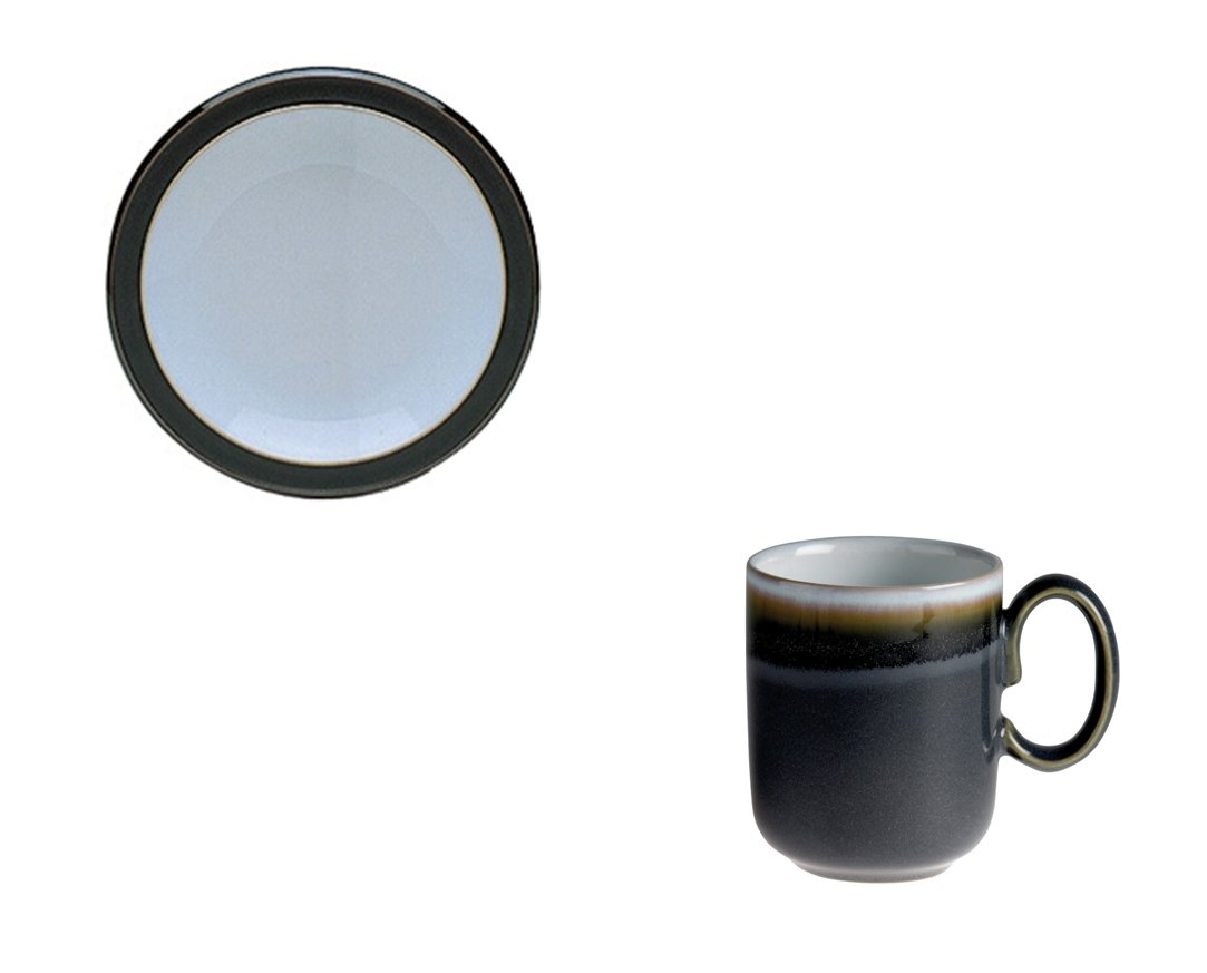 Denby Jet Black Small Plate and Grey Double Dip Mug, Set of 2
