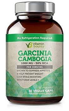 Vitamin Bounty - Garcinia Cambogia 100% PURE Extract with 100% Moneyback Guarantee - 60 count - 50% HCA