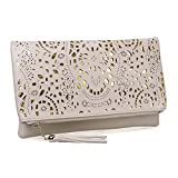 BMC Womens Over Sized Creamy Beige Perforated Cut Out Pattern Gold Accent Background Foldover Pouch Fashion Clutch Handbag