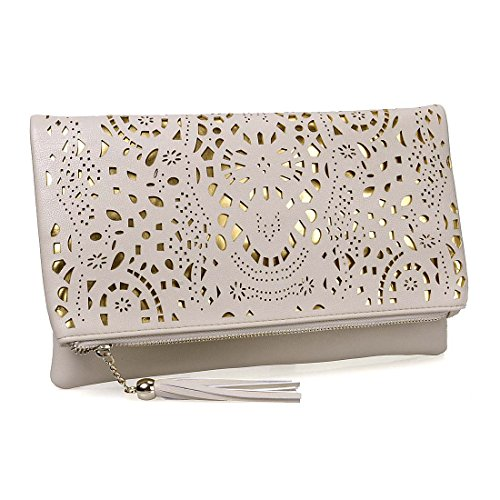 BMC Womens Creamy Beige Perforated Cut Out Pattern Gold Accent