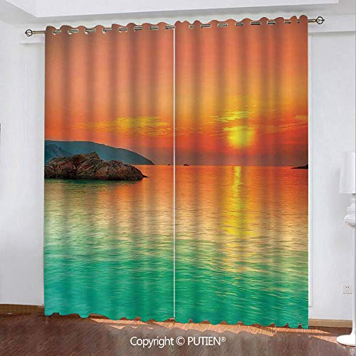 Satin Grommet Window Curtains Drapes [ Nature,Sunset over the Sea Con Dao Vietnam Sunbeams Colorful Sky Reflection on Water,Orange Mint Green ] Window Curtain for Living Room Bedroom Dorm Room Classro