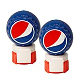 Jokari 2 Count Pepsi Modern Logo Fizz Keeper Soda Bottle Pump and Pour, Red/White/Blue
