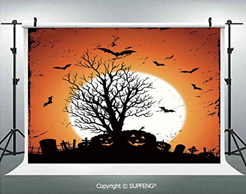 Photography Background Grunge Halloween Image with Eerie Atmosphere Graveyard Bats Pumpkins 3D Backdrops for Photography Backdrop Photo Background Studio Prop -