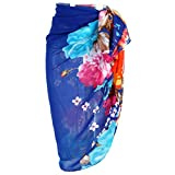 CHIC DIARY Women Chiffon Pareo Beach Wrap Sarong Swimsuit Scarf Cover up for Vacation (Blue-Flower)