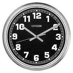 Citizen CC2037 Outdoor Wall Clock, Silver-Tone