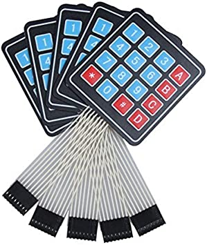 ARCELI 5Pcs 4x4 Universal 16 Teclado Keypad Clave para Arduino