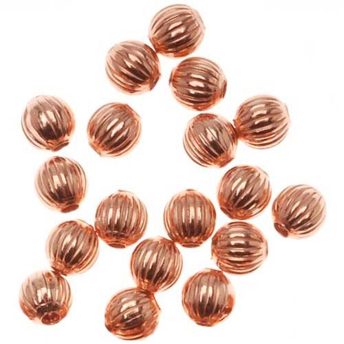 Real Copper Fluted Round Metal Beads 3.2mm (144)