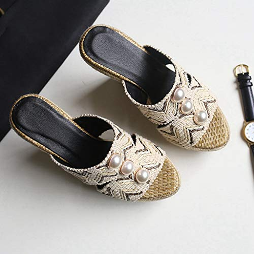 Mules Espadrille Beige Platform High Sandals on Heels Slip Peep Slides GIY Womens Wedge Toe High Heel Oaxq4g7w