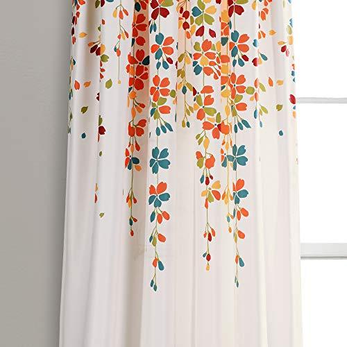 "Lush Decor Weeping Flowers Room Darkening Window Panel Curtain Set (Pair), 84"" x 52"", Turquoise and Tangerine 3"
