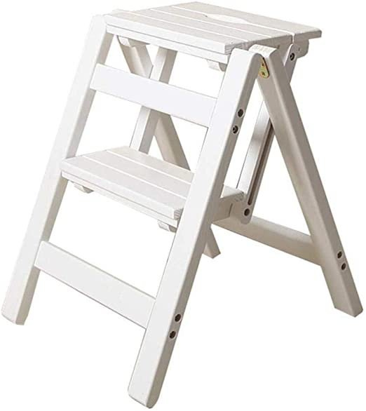 HL-TD Escaleras Extensibles Escalera Plegable de Madera Plegable Escalera Portátil fecal en casa de Madera de Escalada heces 2 Taburete de Paso de múltiples Funciones Heces (Color : White): Amazon.es: Hogar
