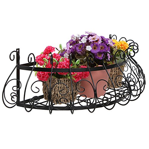 MyGift Black Metal Scrollwork Design Wall Mounted Flower Plant Shelf Display/Decorative Window Boxes Planters ()