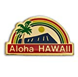 K Chang Hawaii Lapel or Hat Pin Aloha Rainbow Red, Blue One Size