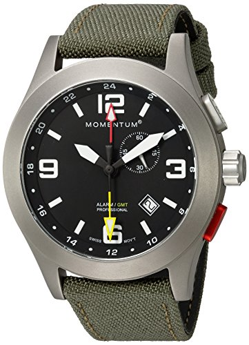 - Momentum Men's Vortech GMT Titanium Swiss-Quartz Watch with Canvas Strap, Green, 22 (Model: 1M-SP58B6G