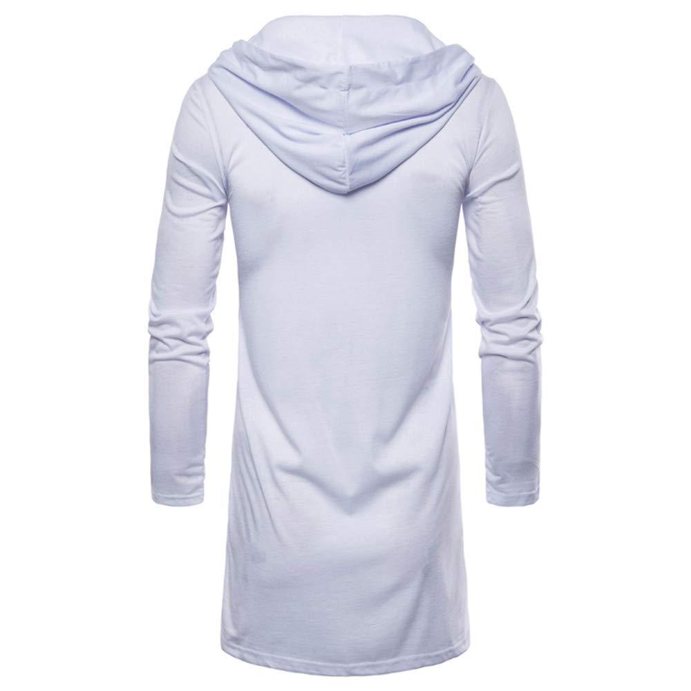 MODOQO Mens Long Hoodie Lightweight Long Sleeve Solid Cardigan Jacket Coat