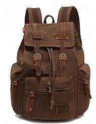 YST Unisex Vintage Canvas Backpack Rucksack Bookbags (Coffee)