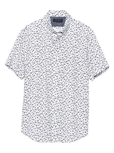 Banana Republic Mens Standard-Fit Soft Wash Short Sleeve Button Down Shirt White Blue Llama Print -