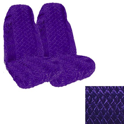 Set of 2 Universal Fit High Back Swirl Pattern Front Bucket Seat Cover - Purple