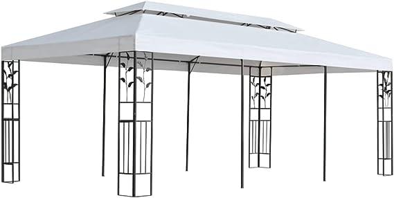 Festnight Cenador de Jardín 3x6 m, Impermeable y Resistente a los Rayos UV, Marco con Detalles Florales, Blanco y Negro 600 x 300 x 270 cm: Amazon.es: Hogar