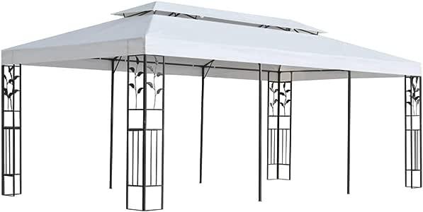 Festnight Cenador de Jardín 3x6 m, Impermeable y Resistente a los Rayos UV, Marco con Detalles Florales, Blanco y Negro 600 x 300 x 270 cm