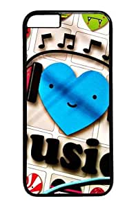 iphone 6 4.7 Case,I Love Music Custom PC Hard Case Cover for iphone 6 4.7 inch Black