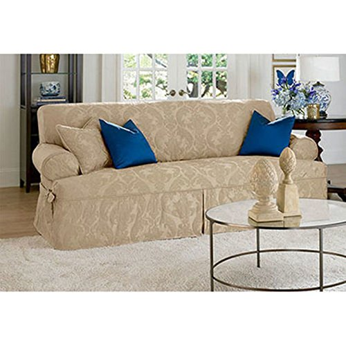 Sure Fit Matelasse Damask 1-Pc Sofa-White by Surefit