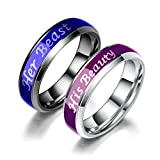 Titanium Mood Ring Temperature Emotion Feeling Change Color Rings Her Beast His Beaty Engagement Promise Couple Rings Jewelry