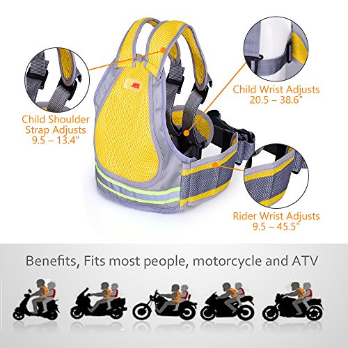 Jolik Child Motorcycle Safety Harness with 4-in-1 Buckle, Breathable Material in Yellow by Jolik (Image #2)