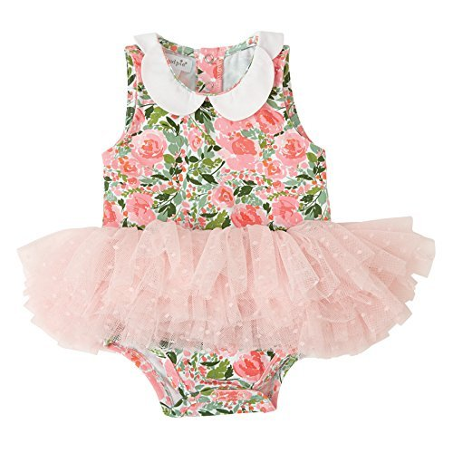 Pie Tutu (Mud Pie Baby Girls Floral Tutu One Piece Bodysuit Crawler, Pink, 9-12 Months)